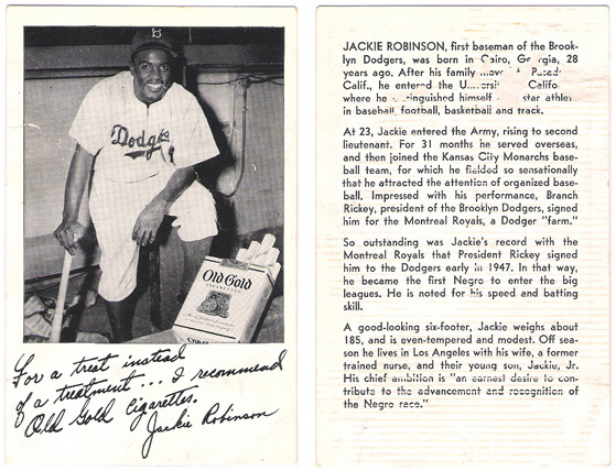 Old Gold Cigarette Card - Jackie Robinson