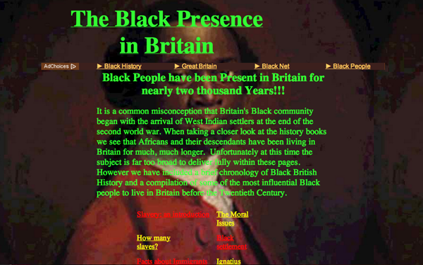 Black Presence in Britain website 1998-2000