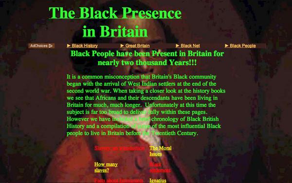 Black Presence in Britain website 1998-2000