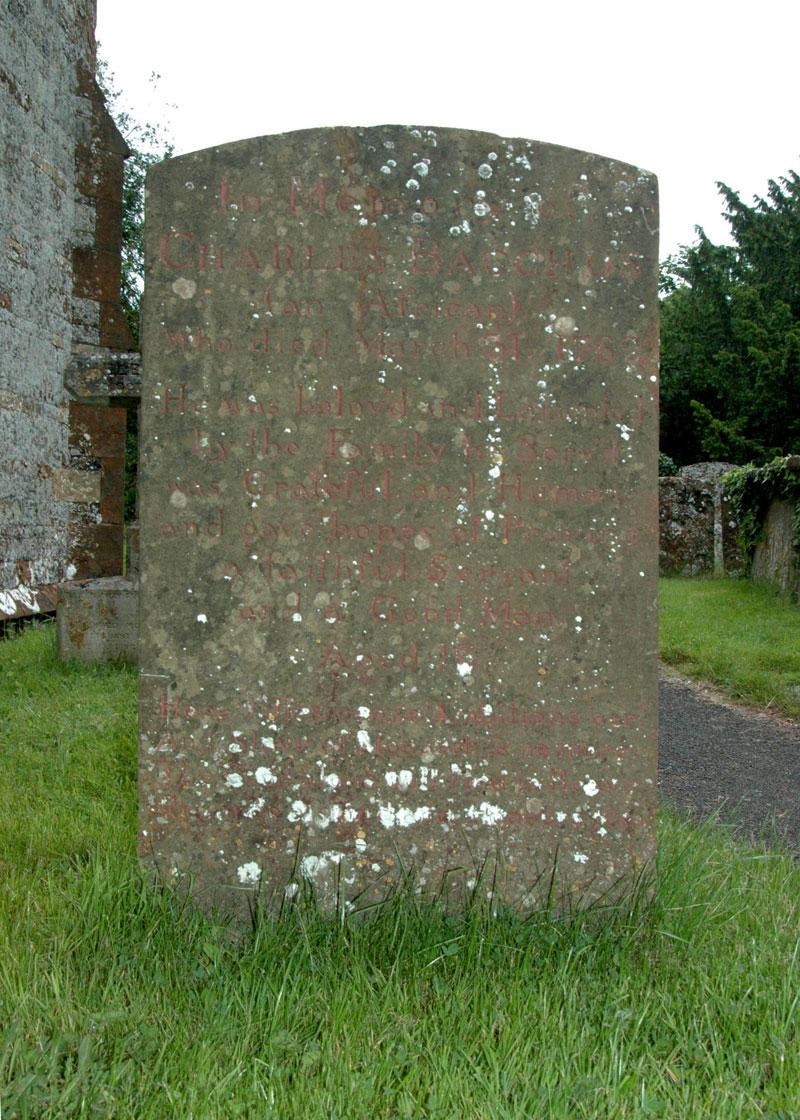Grave of charles Bacchus - slave graves