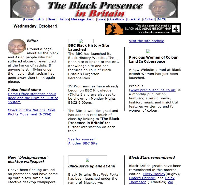 Black Presence Website 2000